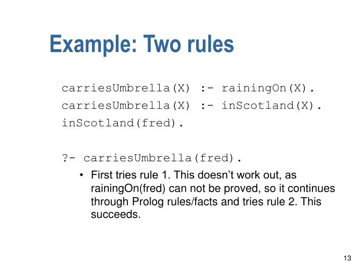 Example: Two rules