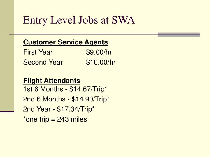 Entry Level Jobs at SWA