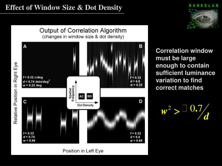 Effect of Window Size & Dot Density