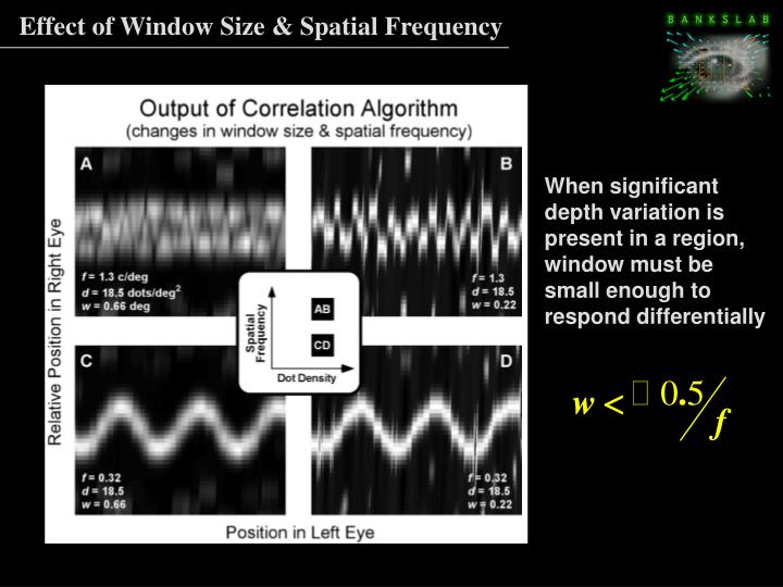 Effect of Window Size & Spatial Frequency