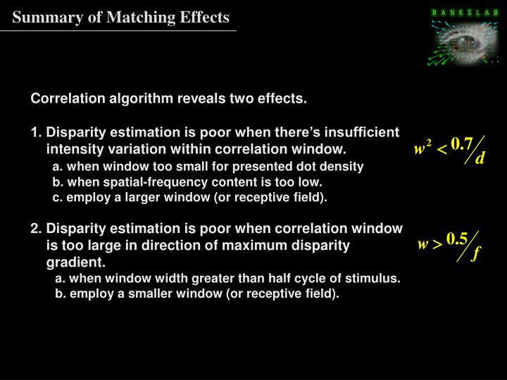 Summary of Matching Effects