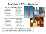 available 1 3 ghz klystrons