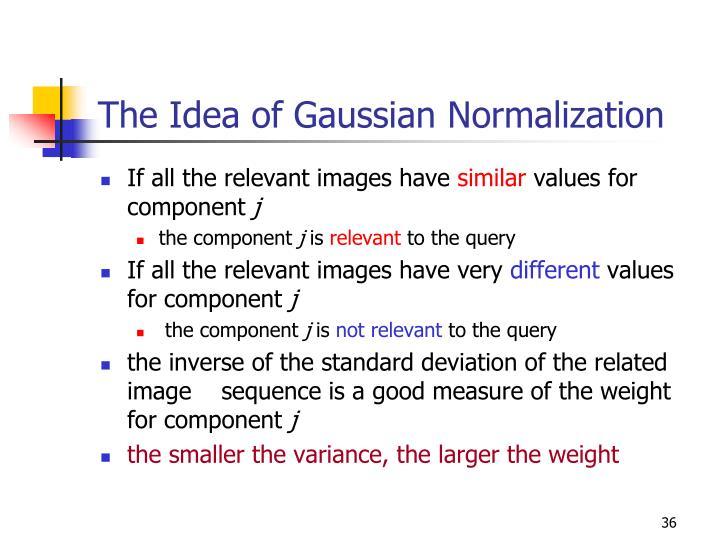 The Idea of Gaussian Normalization