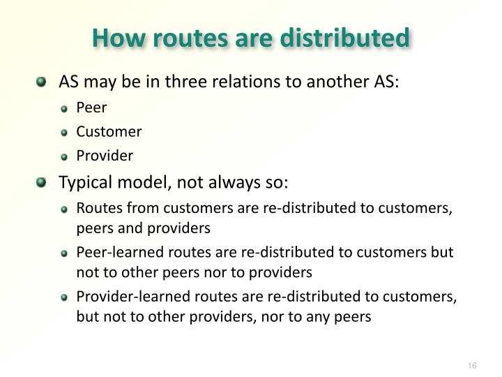 How routes are distributed