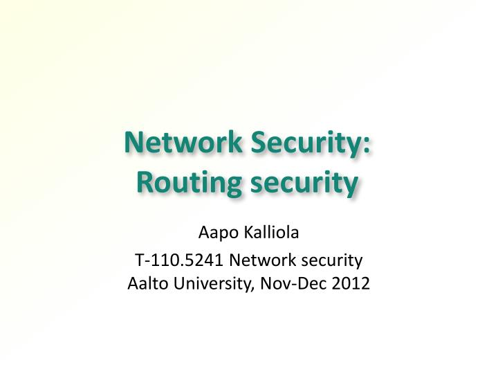 Network security routing security