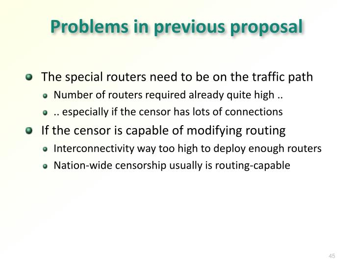 Problems in previous proposal