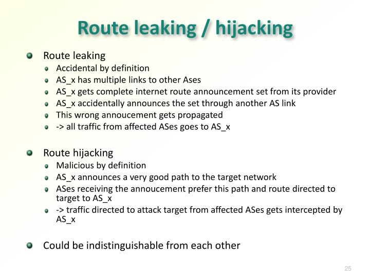 Route leaking / hijacking