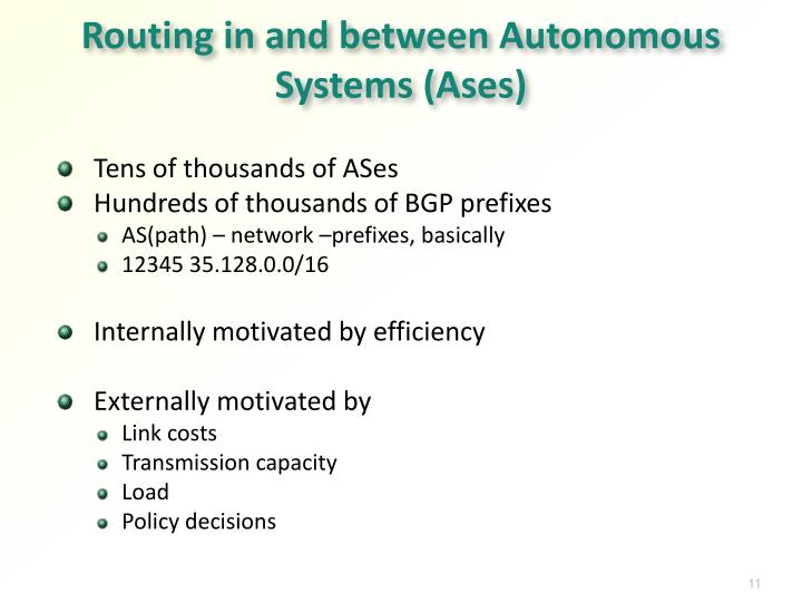 Routing in and between Autonomous Systems (