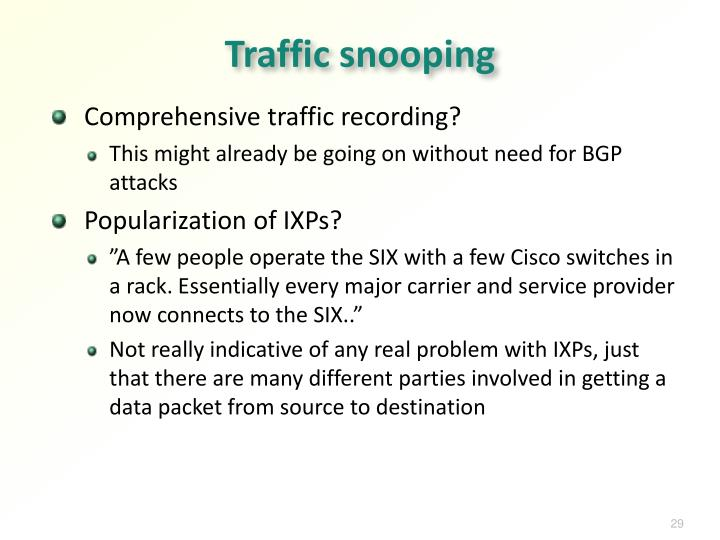 Traffic snooping