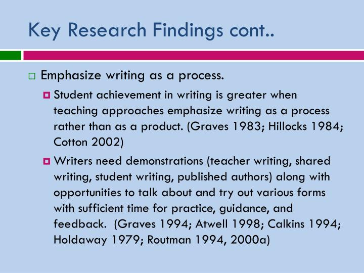 Key Research Findings cont..