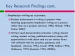 key research findings cont