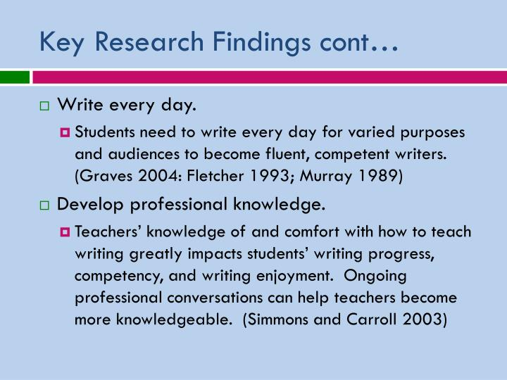 Key Research Findings cont…
