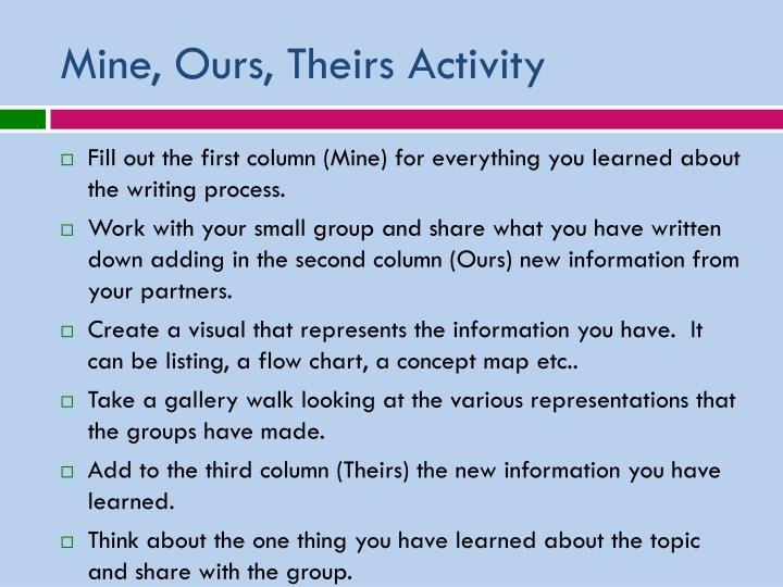 Mine, Ours, Theirs Activity
