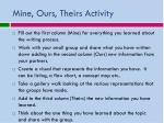 mine ours theirs activity