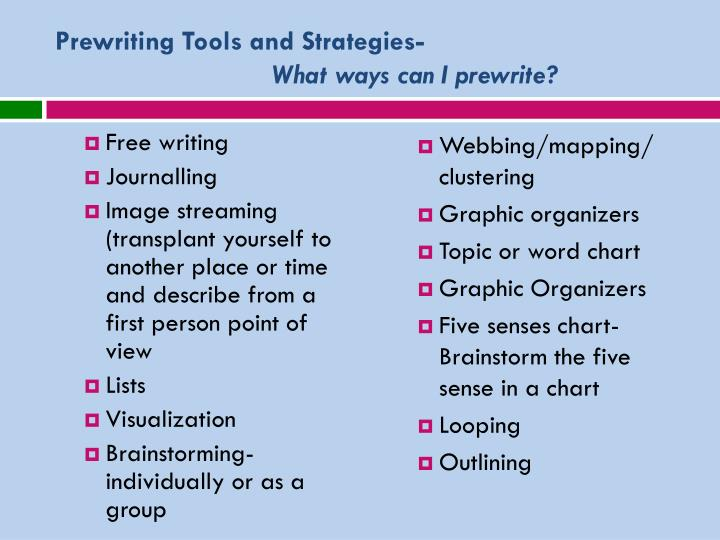 Prewriting Tools and Strategies-