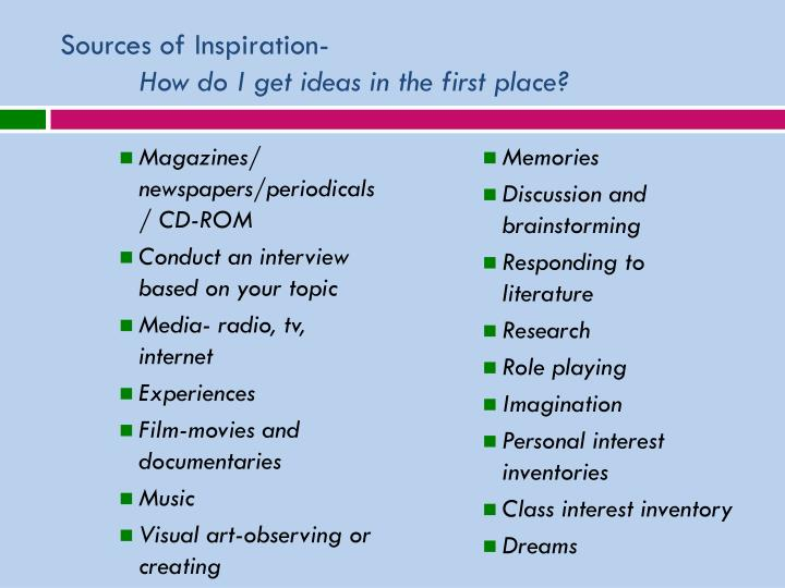 Sources of Inspiration-