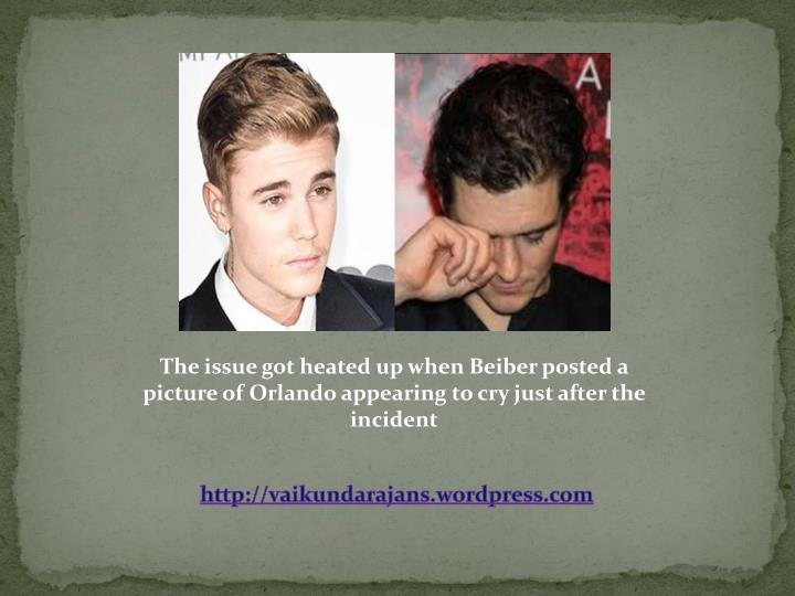 The issue got heated up when Beiber posted a picture of Orlando appearing to cry just after the incident