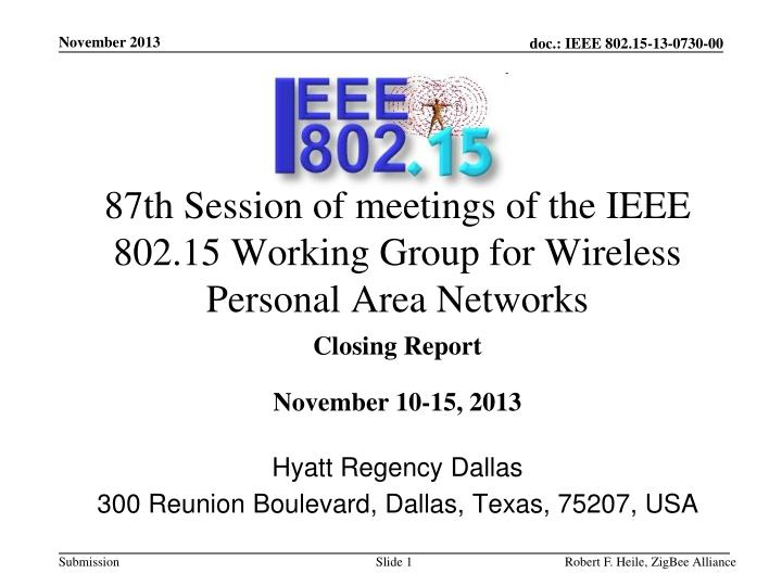 87th session of meetings of the ieee 802 15 working group for wireless personal area networks n.