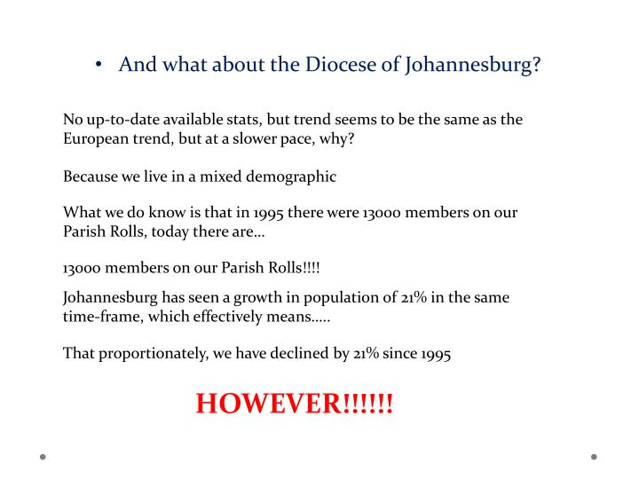 And what about the Diocese of Johannesburg?