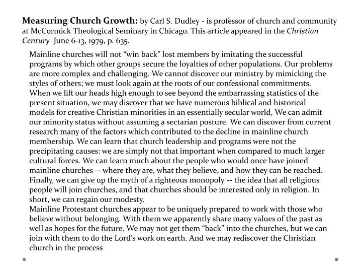 Measuring Church Growth: