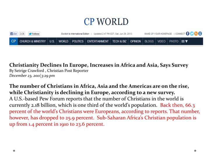 Christianity Declines In Europe, Increases in Africa and Asia, Says Survey
