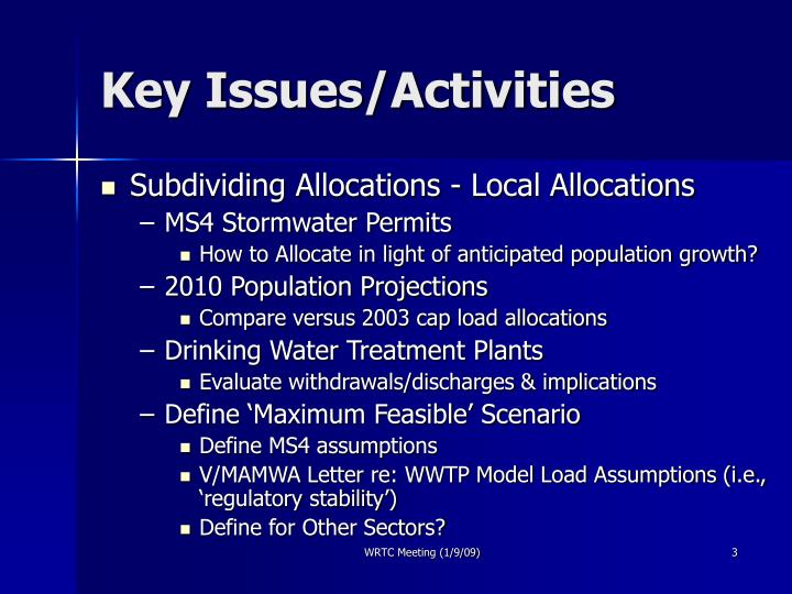 Key issues activities