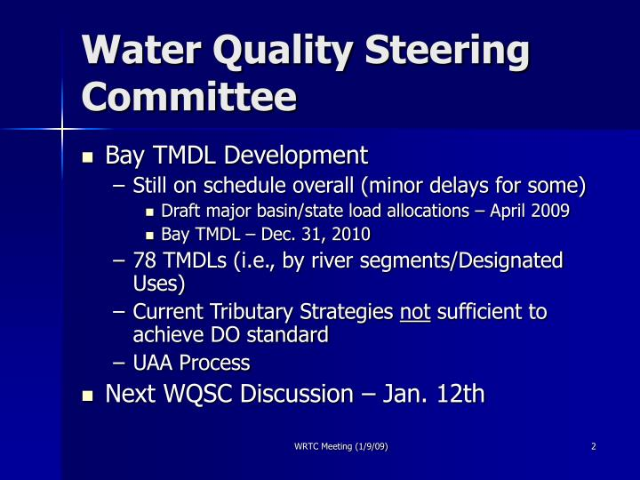Water quality steering committee