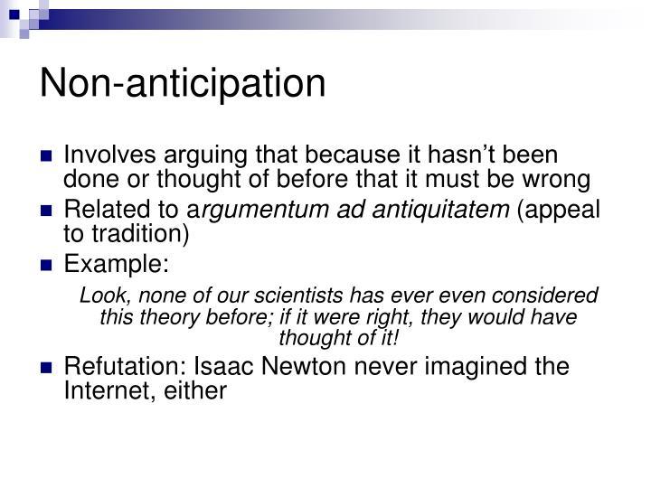 Non-anticipation
