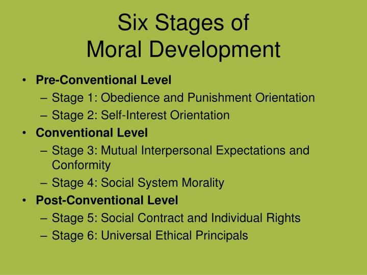 kohlberg six stages Although it has been questioned as to whether it applied equally to different genders and different cultures, kohlberg's (1973) stages of moral development is the most widely cited it breaks our development of morality into three levels, each of which is divided further into two stages: 1.
