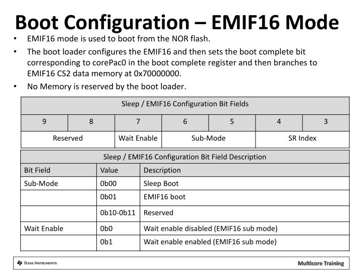 Boot Configuration – EMIF16 Mode