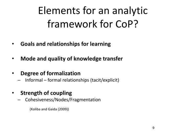 Elements for an analytic framework for