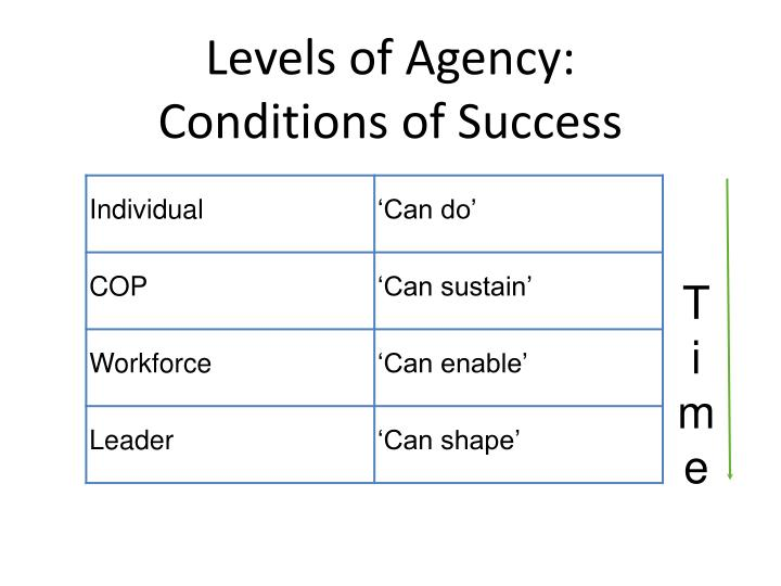 Levels of Agency: Conditions of Success