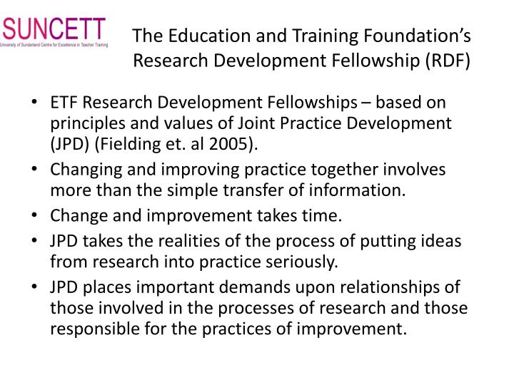 The Education and Training Foundation's Research Development Fellowship (RDF)