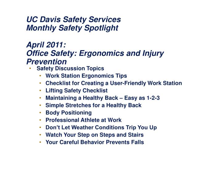 PPT - Safety Discussion Topics Work Station Ergonomics Tips