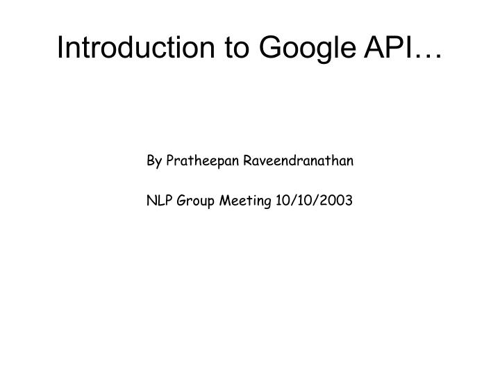 introduction to google api n.