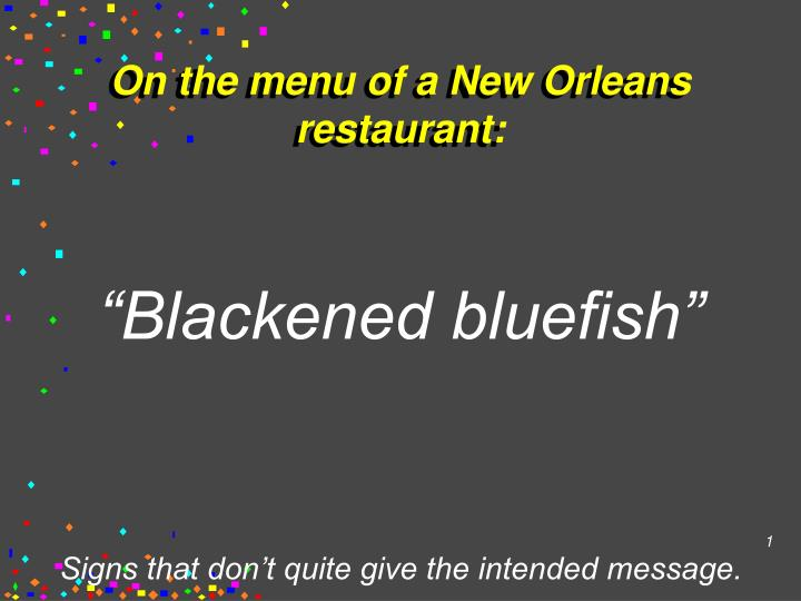 On the menu of a new orleans restaurant