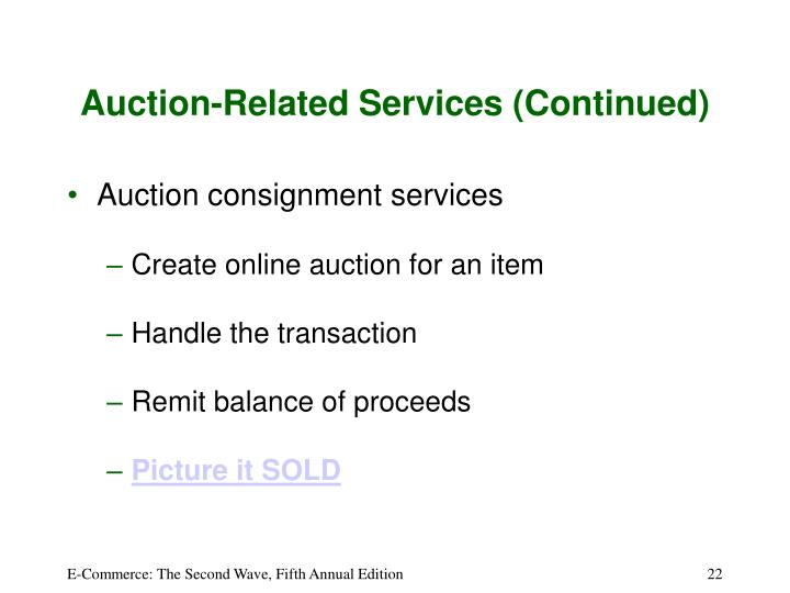 Auction-Related Services (Continued)