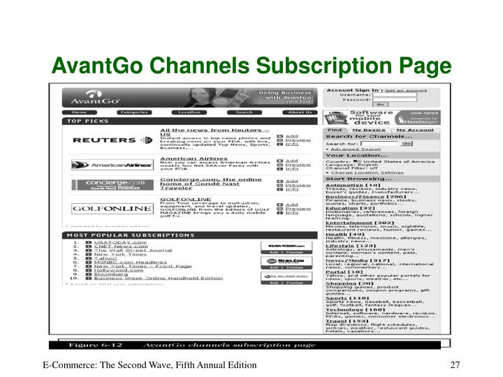AvantGo Channels Subscription Page