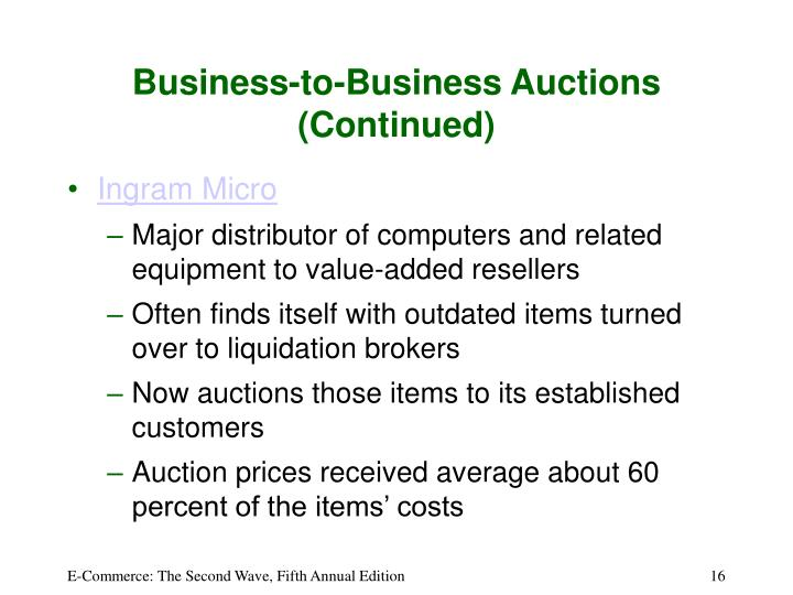 Business-to-Business Auctions (Continued)