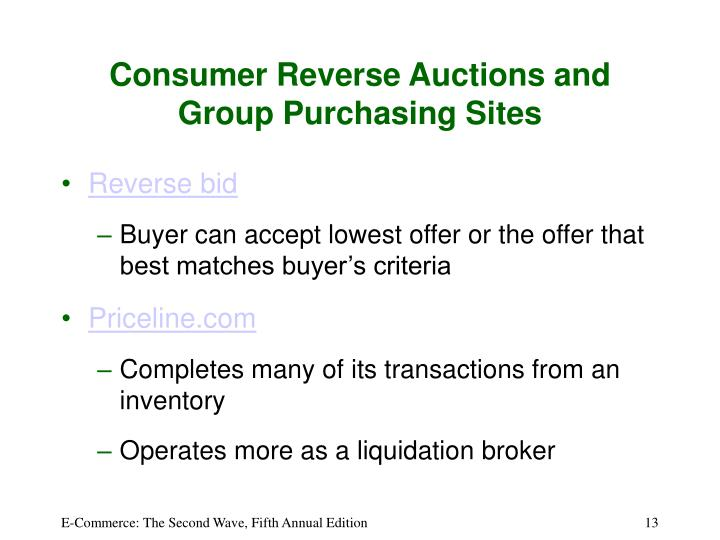 Consumer Reverse Auctions and Group Purchasing Sites
