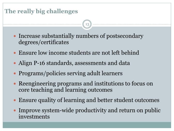 The really big challenges