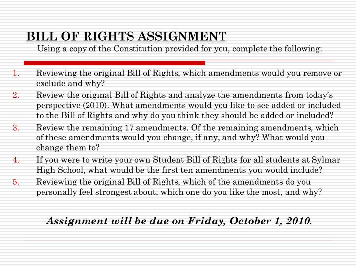 bill of rights assignment n.