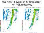 00z 4 16 11 cycle 21 hr forecasts 1 km agl reflectivity