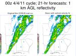 00z 4 4 11 cycle 21 hr forecasts 1 km agl reflectivity
