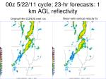 00z 5 22 11 cycle 23 hr forecasts 1 km agl reflectivity