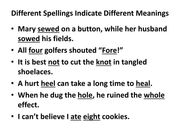 Different Spellings Indicate Different Meanings