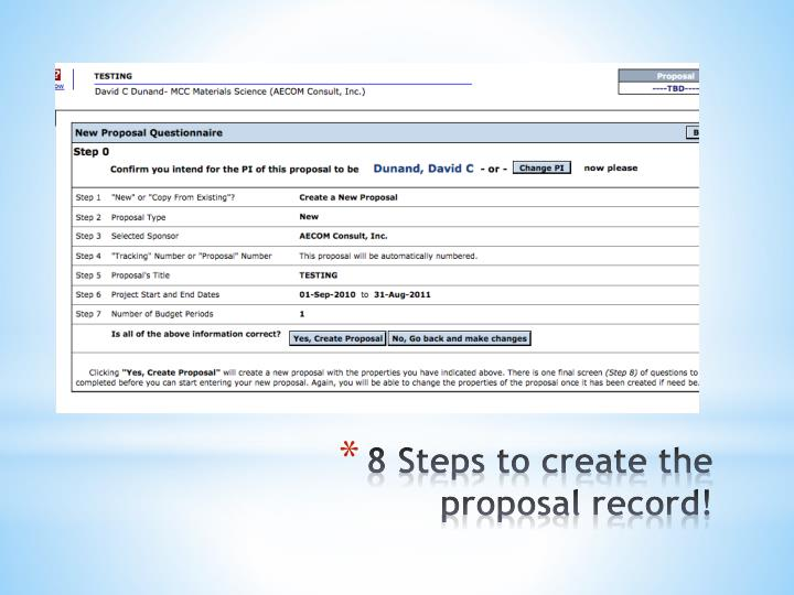 8 steps to create the proposal record