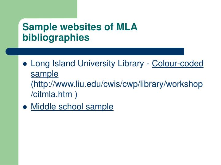 Sample websites of MLA bibliographies