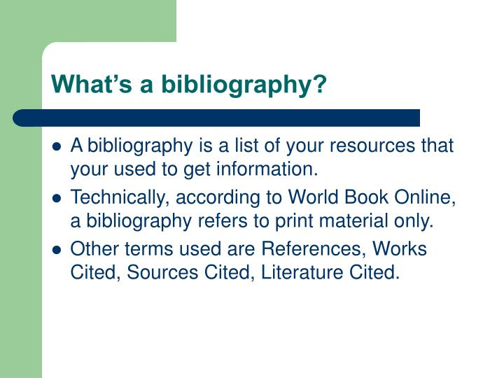 What s a bibliography