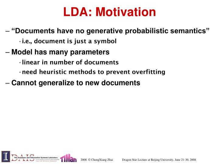 LDA: Motivation